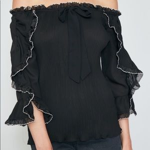 Off shoulder shirred ruffle top